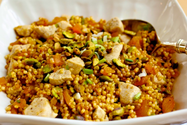 Stir-Fried Couscous with Chicken,Dried Apricots and Pistachios