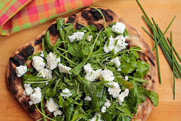 Arugula Pizza with Lemon Honey Vinaigrette. Recipe by Melissa Roberts