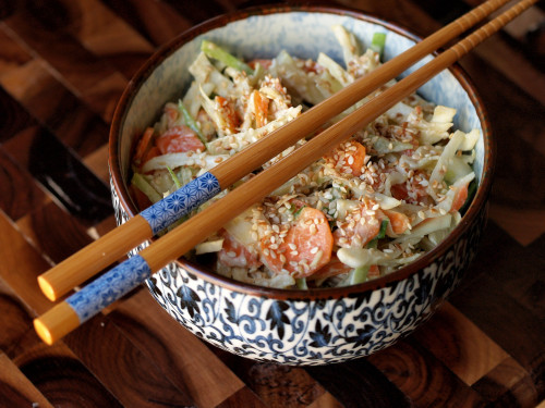 Cabbage Slaw with Miso-Sesame Dressing