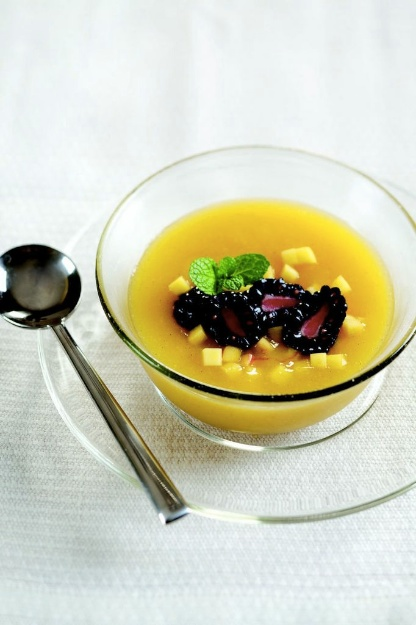 Chilled Mango Soup with Blackberries