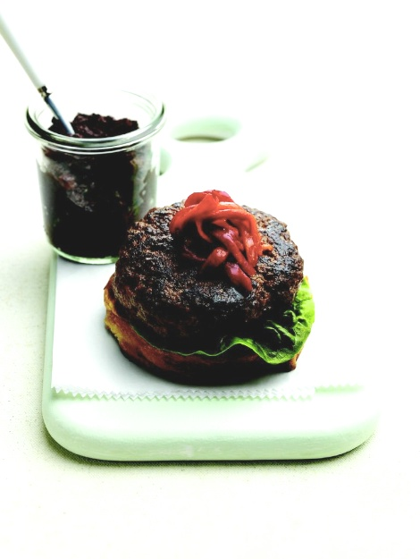 Grilled Lamb Burgers with Olive Tapenade