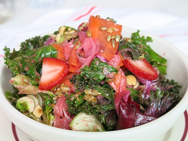 Kale salad . pickled veggies, strawberries and candied sunflower seeds (1)