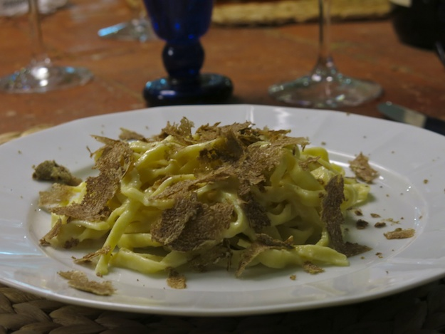 tagliolini topped with truffles