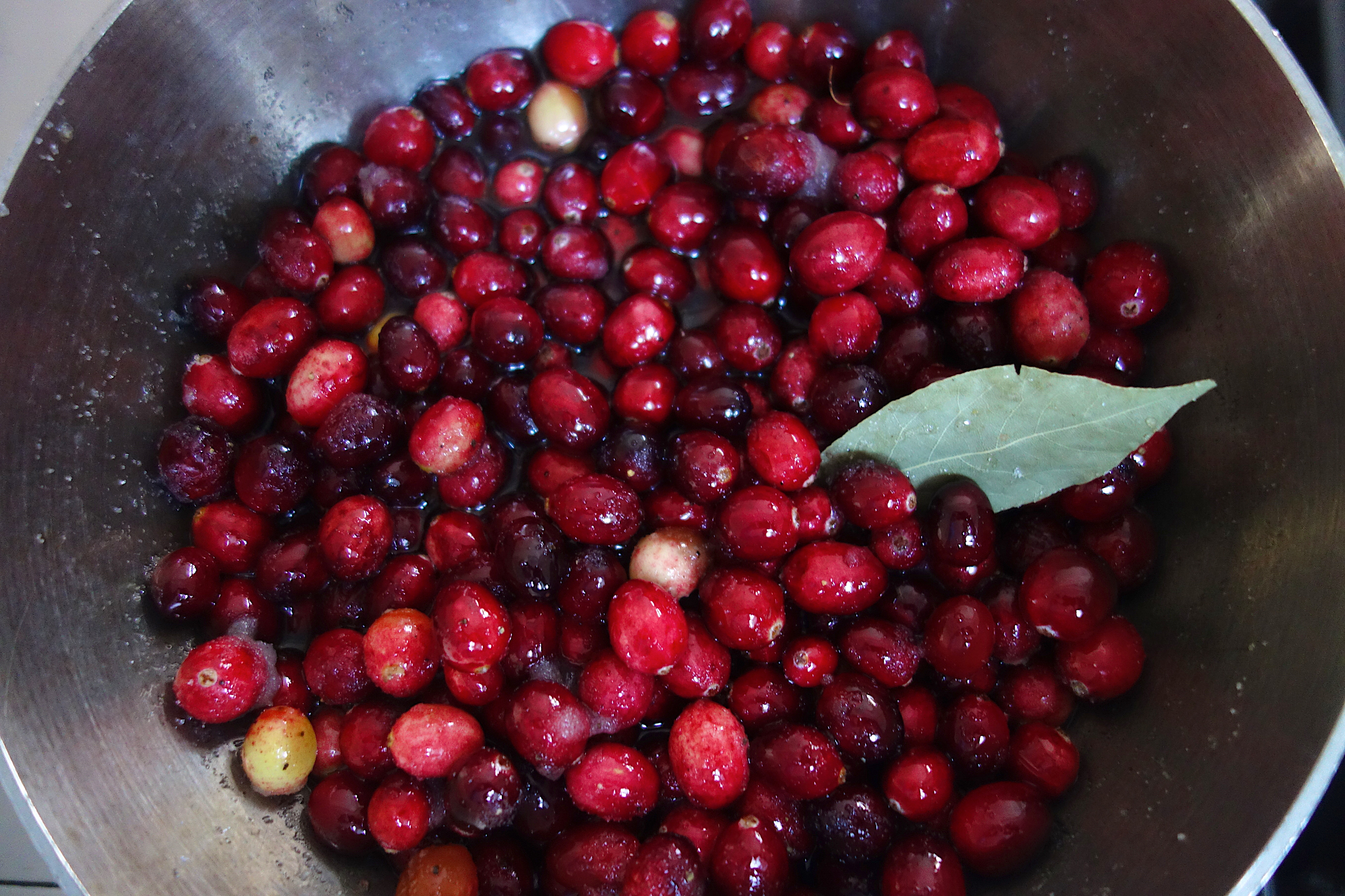 Cranberries Simmering for Chutney
