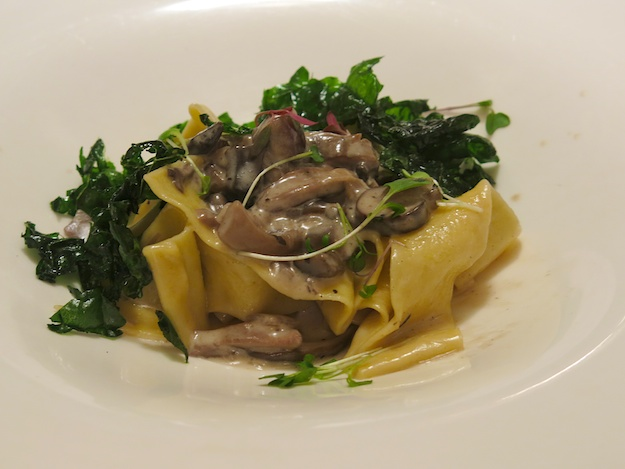 papardelle with mushroom ragout and fried kale
