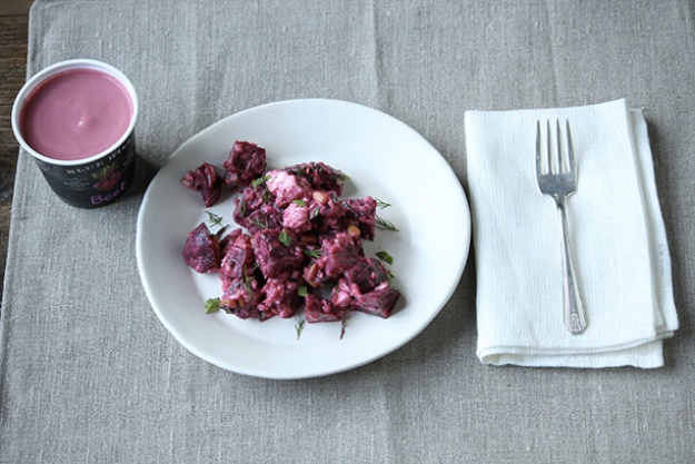 Roasted Beets with Fresh Herbs, Feta and Pine Nuts