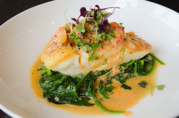 KM- grilled halibut red coconut curry wilted spinach