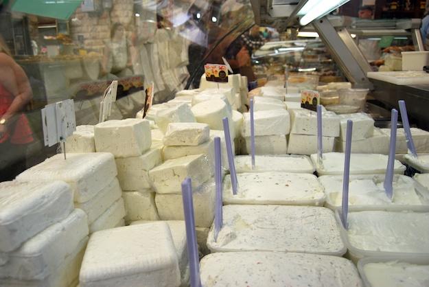 Selection of white cheese (gvina levana) at Basher Cheese, Tel Aviv