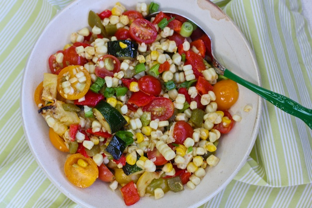 Grilled Corn & Chopped Vegetable Salad