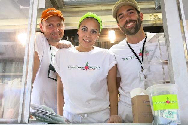 L-R: James Rafferty, owner, with his team Najat El Hamdi and Jerome Burdi