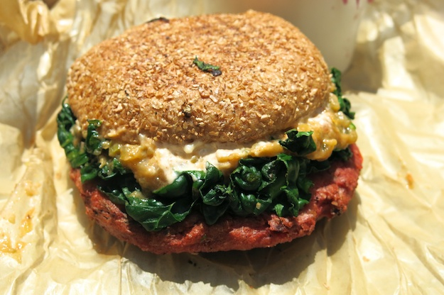 roasted red beet burger w grilled kale