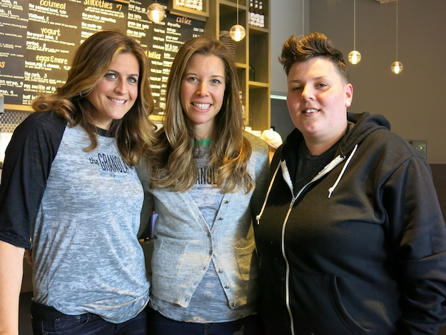 L-R Julie and Dana, owners; with Chef Jes