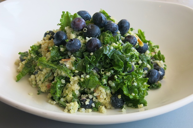 quinoa, kale and blueberries