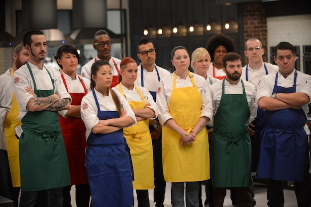 "TOP CHEF -- ""Sudden Death"" Episode 1201 -- Pictured: (l-r) Ron Eyester, Adam Harvey, Melissa King, Mei Lin, Gregory Gourdet, Stacey Cogswell, Mikhail ""Mike"" Patlazhan, Rebecca LaMalfa, Keriann Von Raesfeld, Joy Crump, Dougie Adams, James Rigato, Alvara ""Katsuji Tanabe"" Soto -- (Photo by: David Moir/Bravo)"