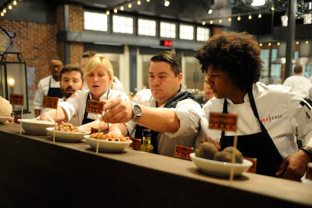 "TOP CHEF -- ""Boston's Bravest and Finest"" Episode 1202 -- Pictured: (l-r) Greogry Gourdet, Dougie Adams, Keriann Von Raesfeld, Katsuji Tanabe, Joy Crump -- (Photo by: David Moir/Bravo)"