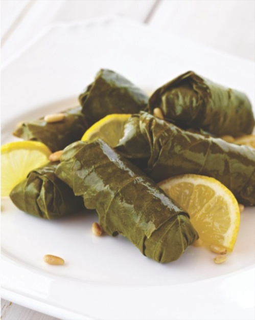 Stuffed Grape Leaves with Lamb and Pine Nuts