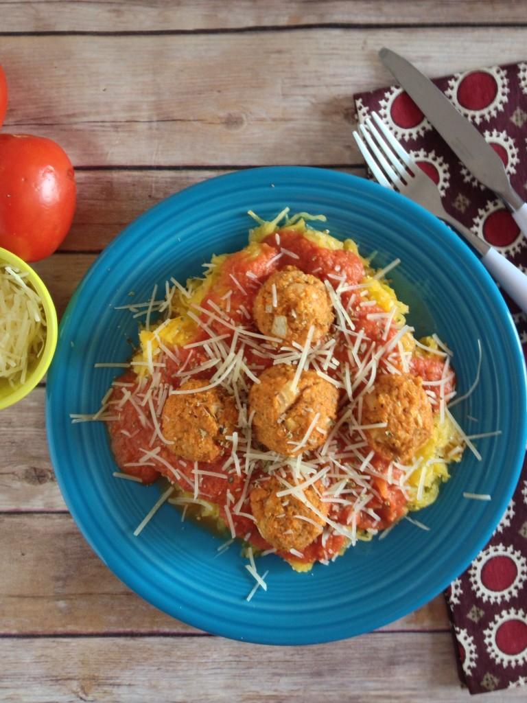 Spaghetti Squash with Quinoa Meatballs