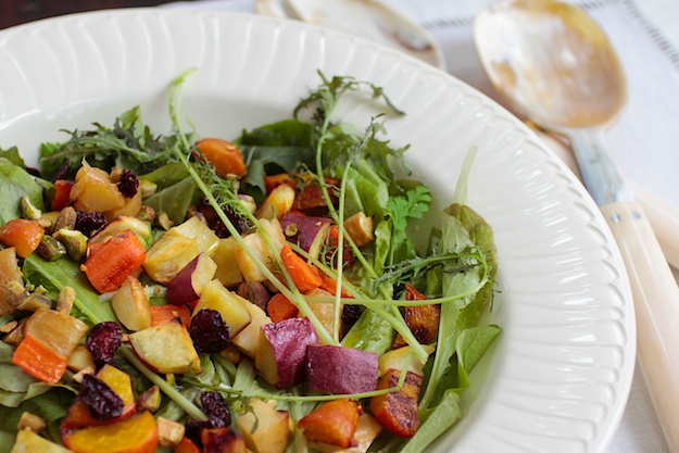 Winter Salad with Roasted Fruit & Veggies