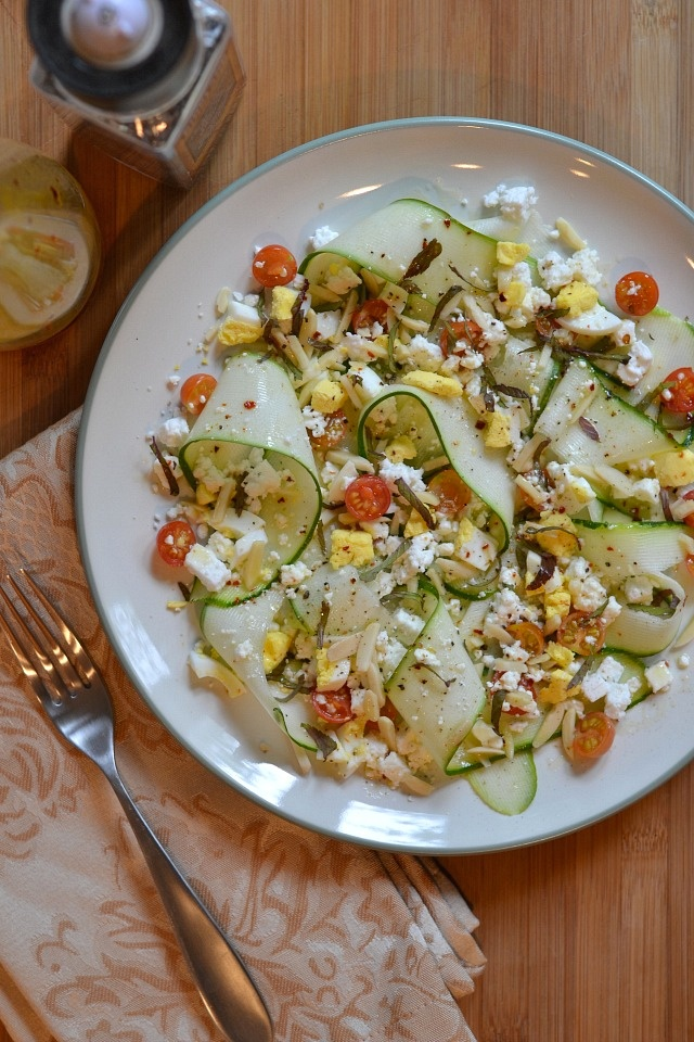 Shaved Zucchini Salad with Feta & Goat Cheese