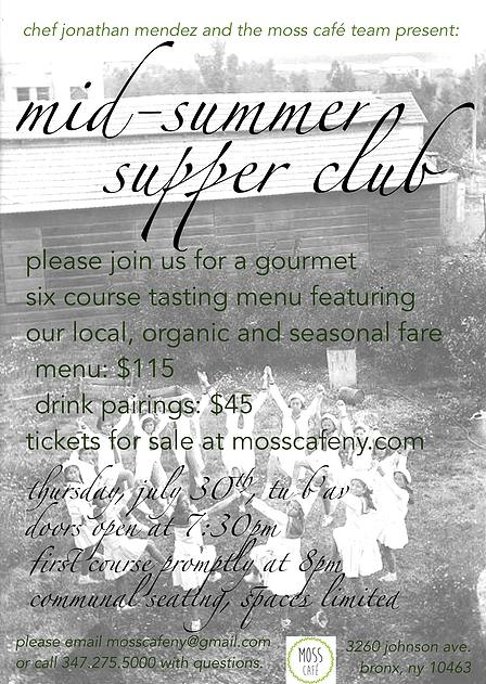 Moss Cafe Hosts First Supper Club