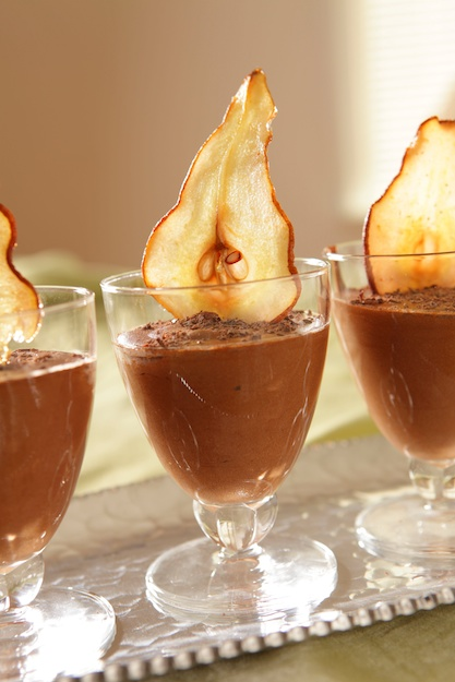 """Fresh and Easy"" & Chocolate Mousse with Pear Chips"