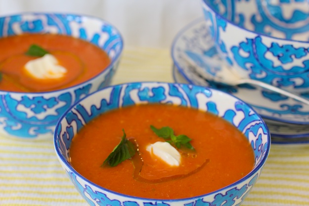 Fresh Tomato Soup with Yogurt & Chili Pepper
