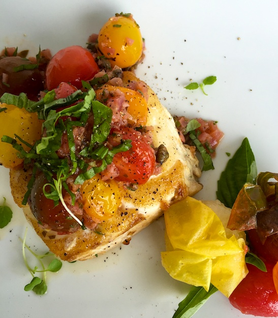 Pan Seared Halibut with Quick Charred Tomato Salsa
