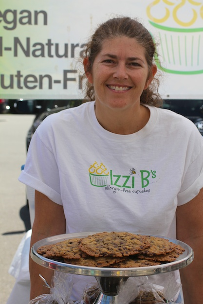 Pam proudly discusses ingredients when sharing samples at Westport Farmers' Market