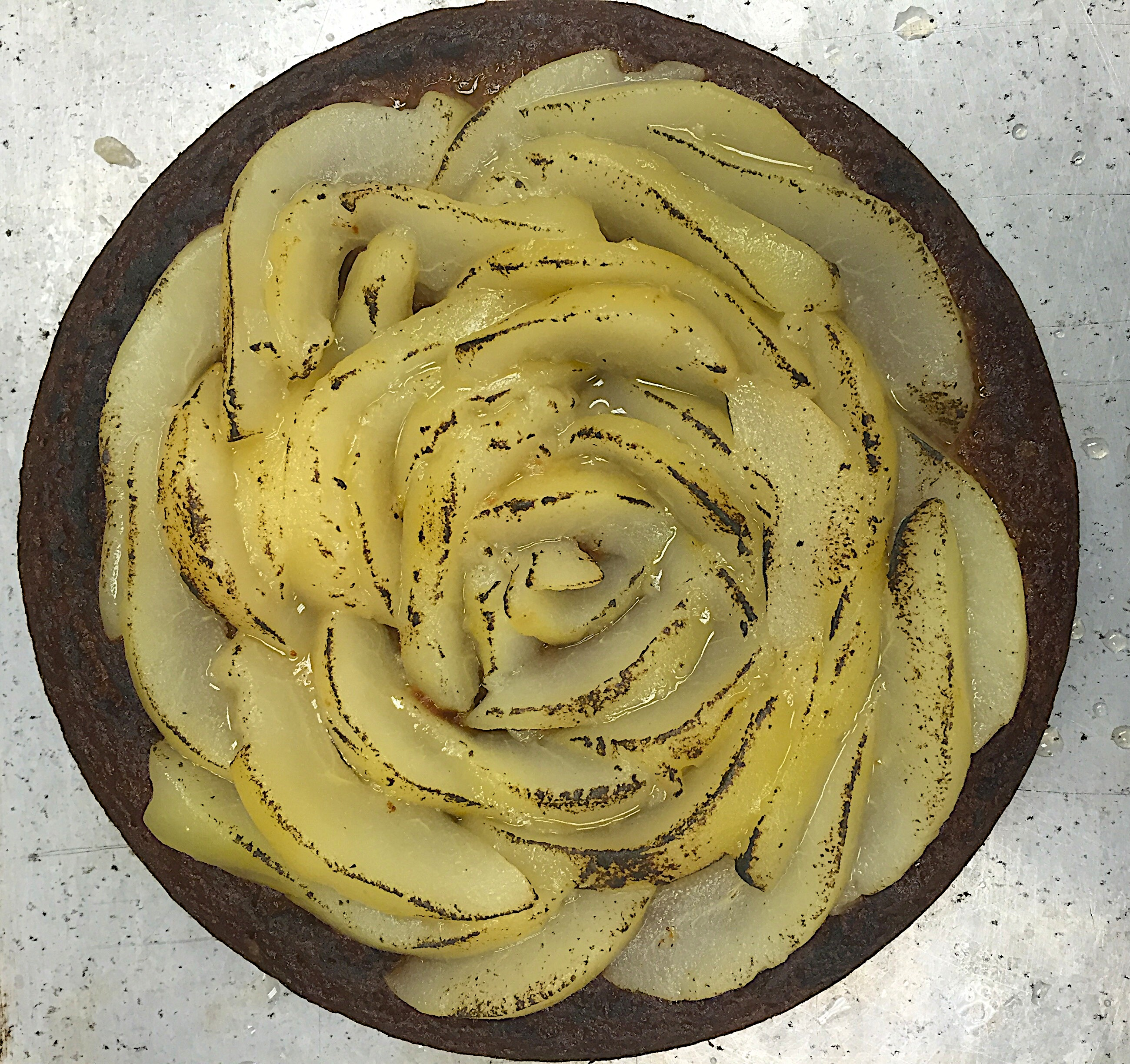 Honey Cake with Poached Pear Rose for your Holiday Dessert