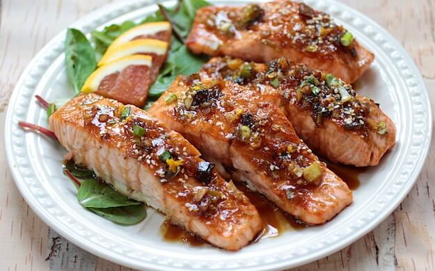 Orange Maple Glazed Salmon on the Verge of Spring