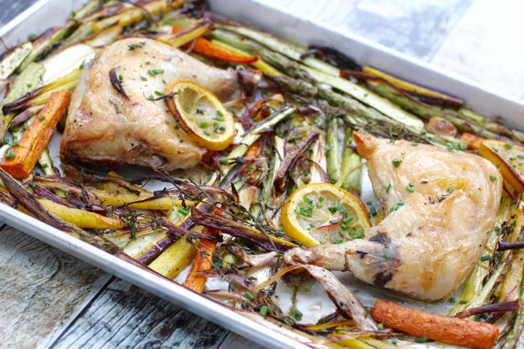 sheet pan roast chicken spring vegetables
