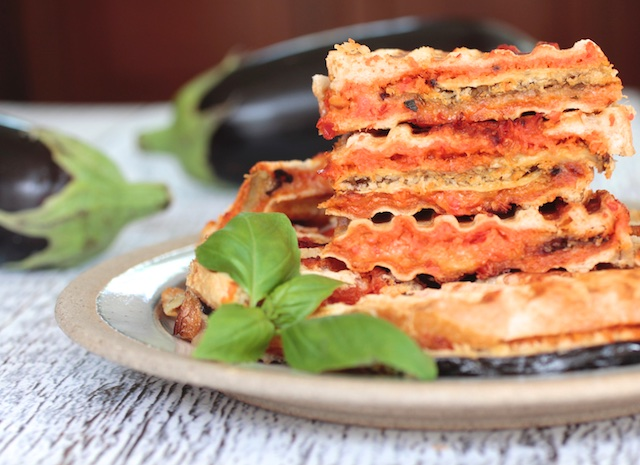 Basil Garlic Cheese Panini with Crispy Sliced Eggplant