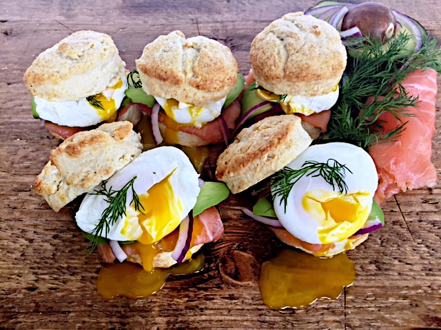 Breakfast Shortcakes with Smoked Salmon & Poached Eggs