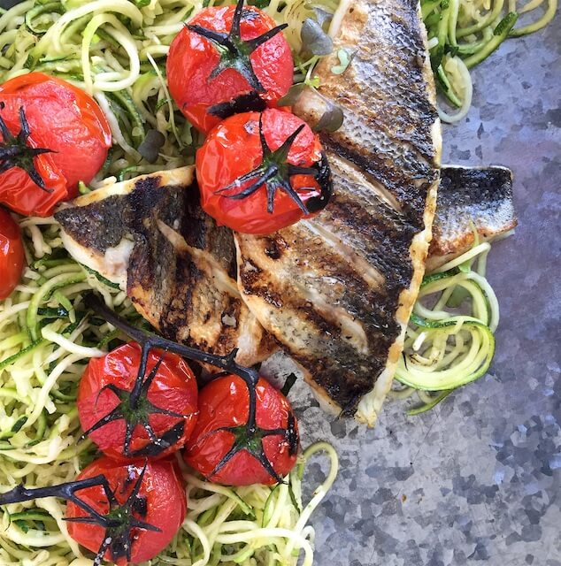 Lighten Up with Grilled Branzino, Zoodles & Charred Tomatoes
