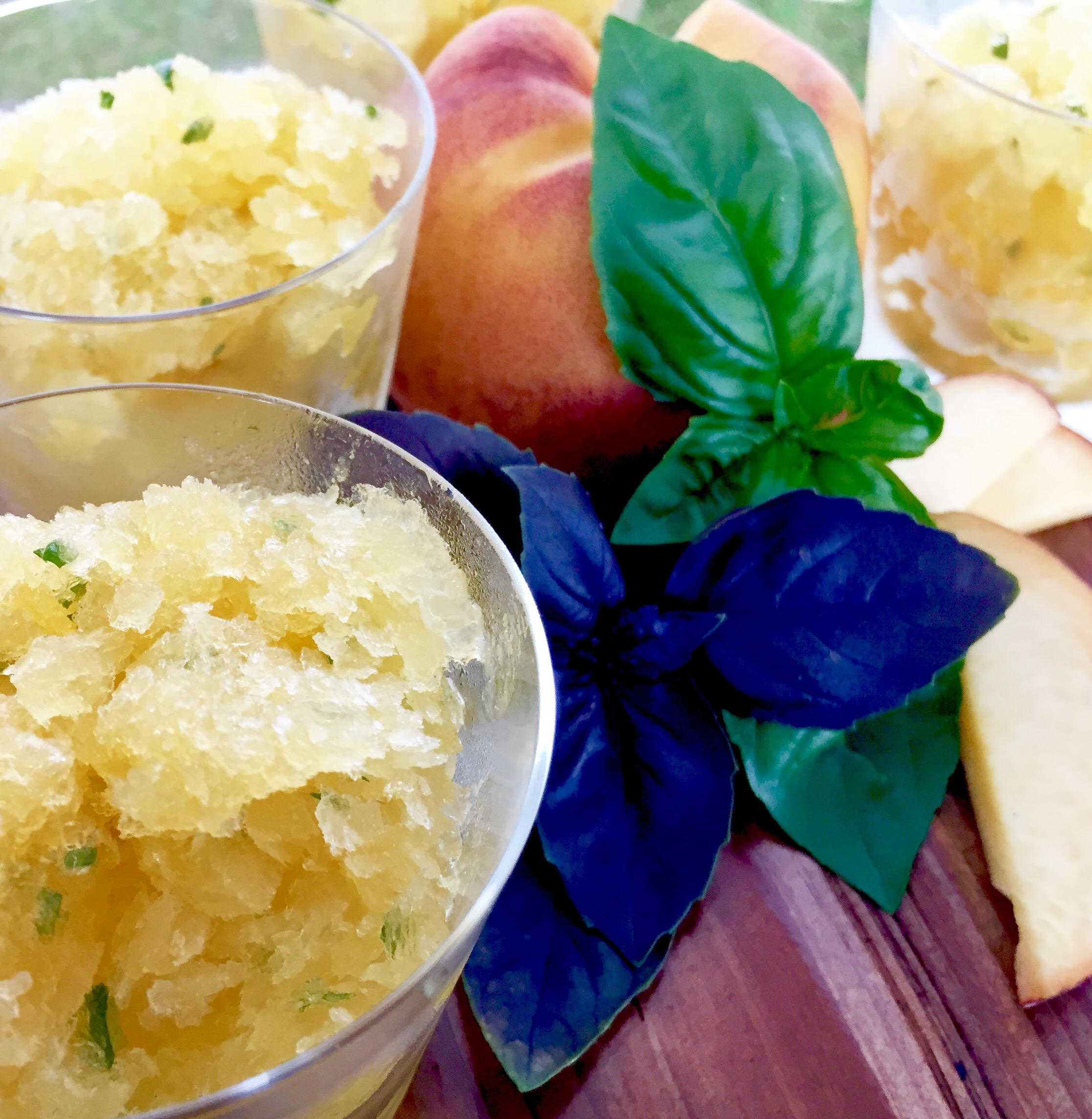 No-Bake Dessert Solution for August: Peach & Basil Granita