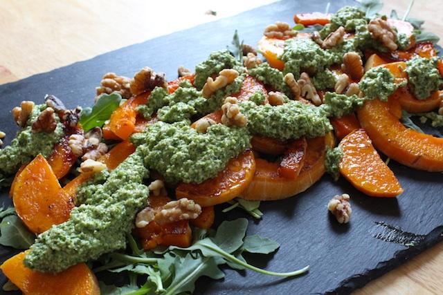 Rosh HaShanah kosher roasted squash with arugula walnut pesto