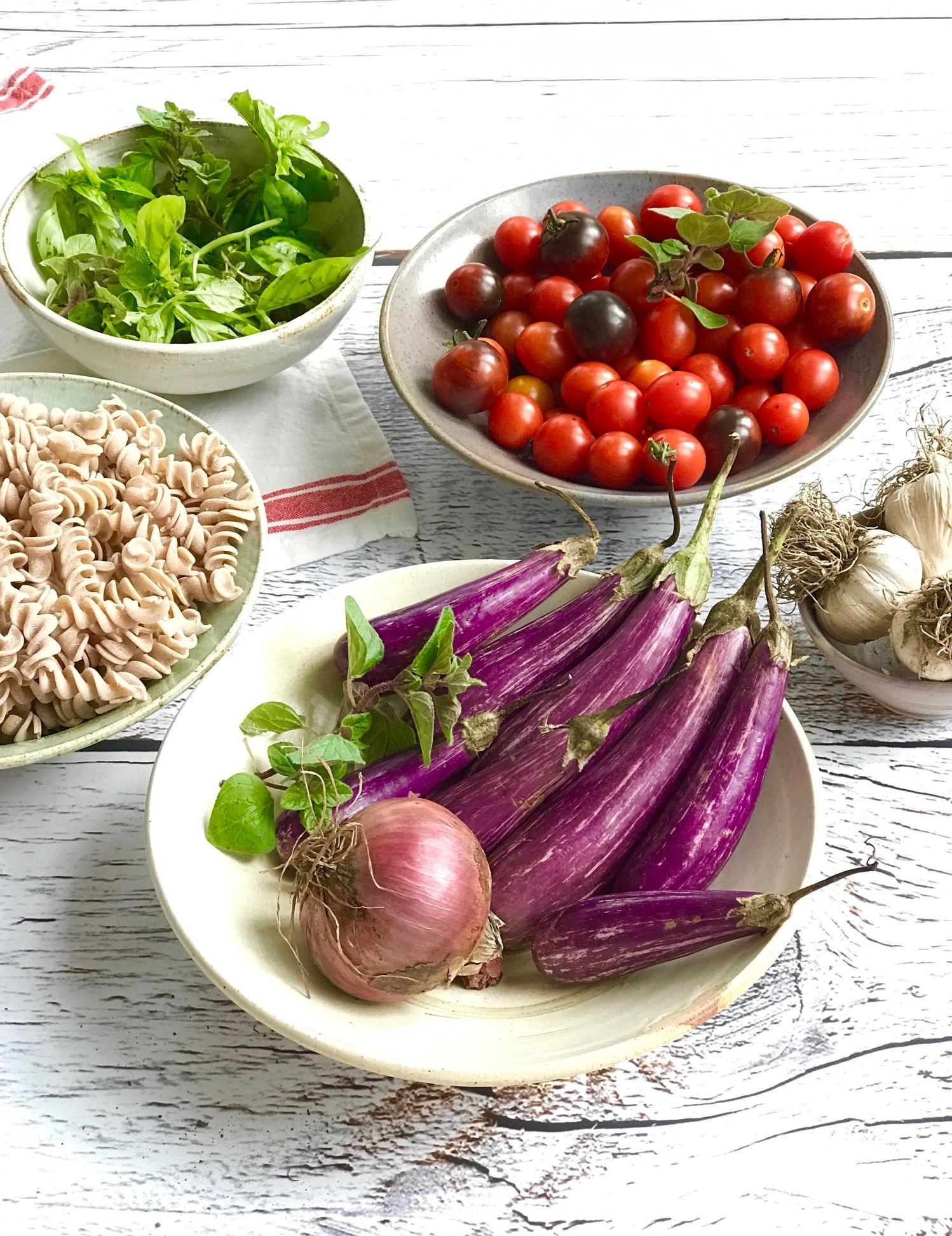 Roasted Fairytale Eggplant & Tomato Rotini
