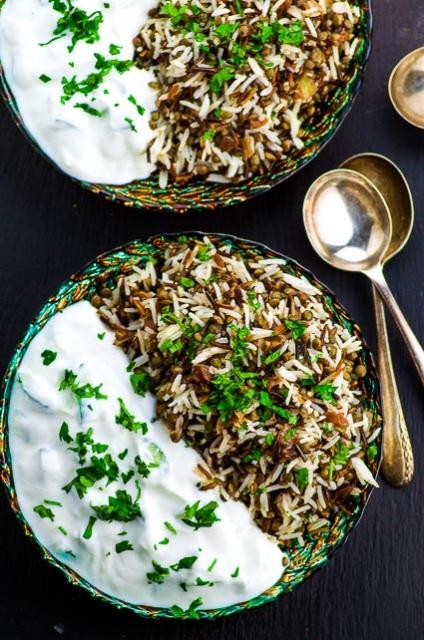 Vegan kosher rice mjadra