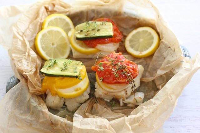 Easy Summer Dinner: Wild Cod & Stacked Veggies in Parchment