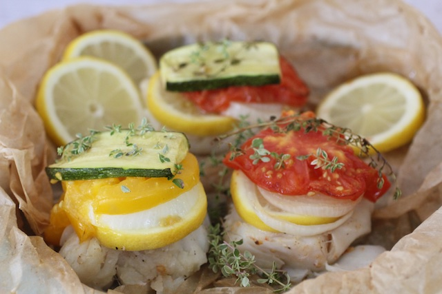 Kosher cod in parchment packets w seasonal vegetables