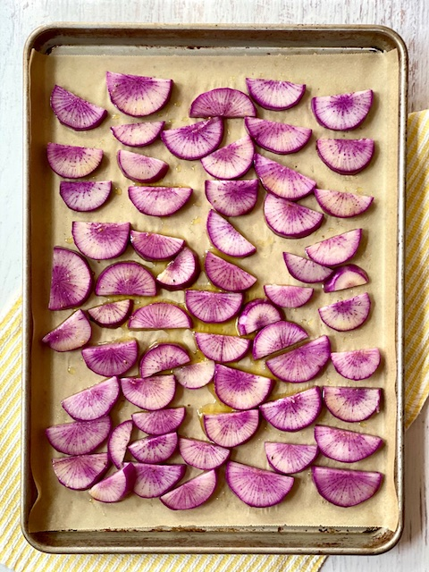 roasted purple daikon radish
