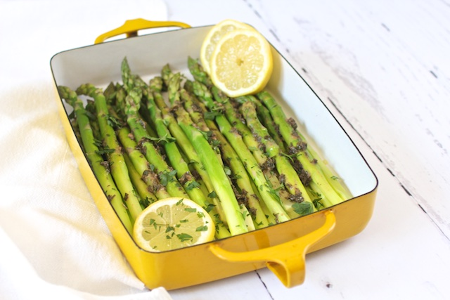 Kosher Like Me Asparagus with Anchovies and Lemon Dressing