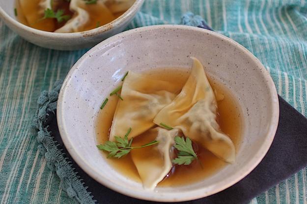 Soup Dumplings (Kreplach) in Golden Broth