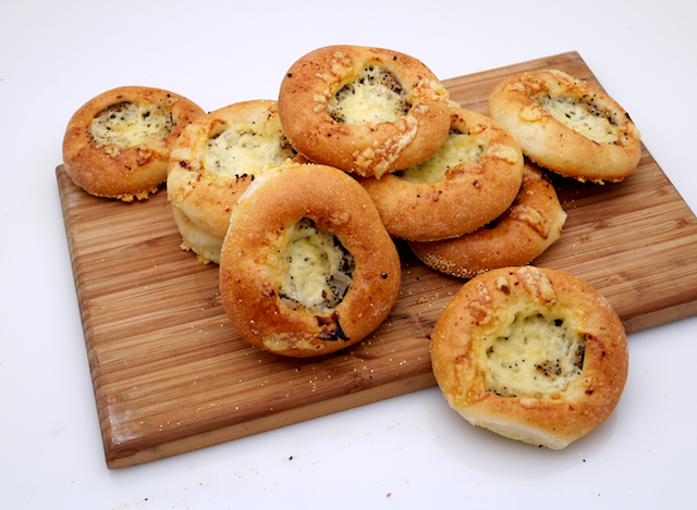 Cheesy Bialys with Golden Onions & Cheddar Filling
