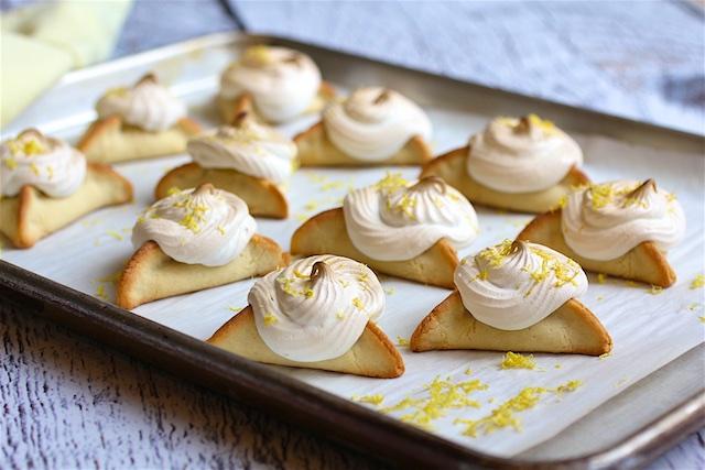 Lemon Hamantaschen with Swiss Meringue Swirls