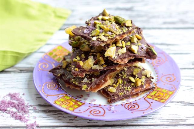 Chocolate Matzah Bark with Dried Pineapple and Pistachio Bits