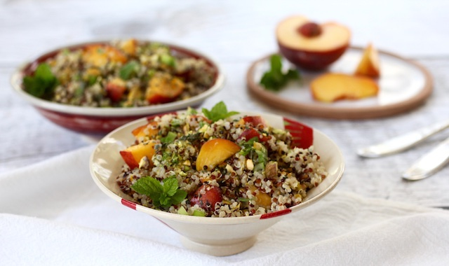 One Bowl Summer Salad: Quinoa, Peaches & Minty Lime Dressing